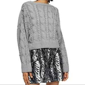 Crop batwing sleeve cable knit sweater